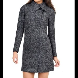 Woolen knee length gray winter coat